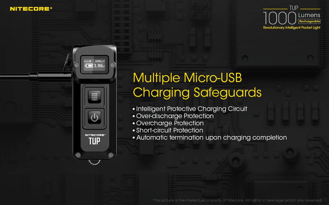 New Nitecore TUP USB Recharge Cree XP-L HD V6 LED 1000 Lumens Flashlight Black
